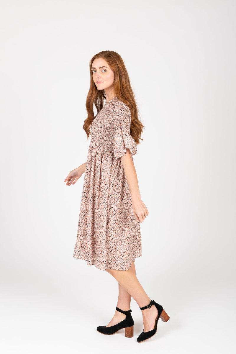 The Only Patterned Empire Dress in Rose, studio shoot; side view