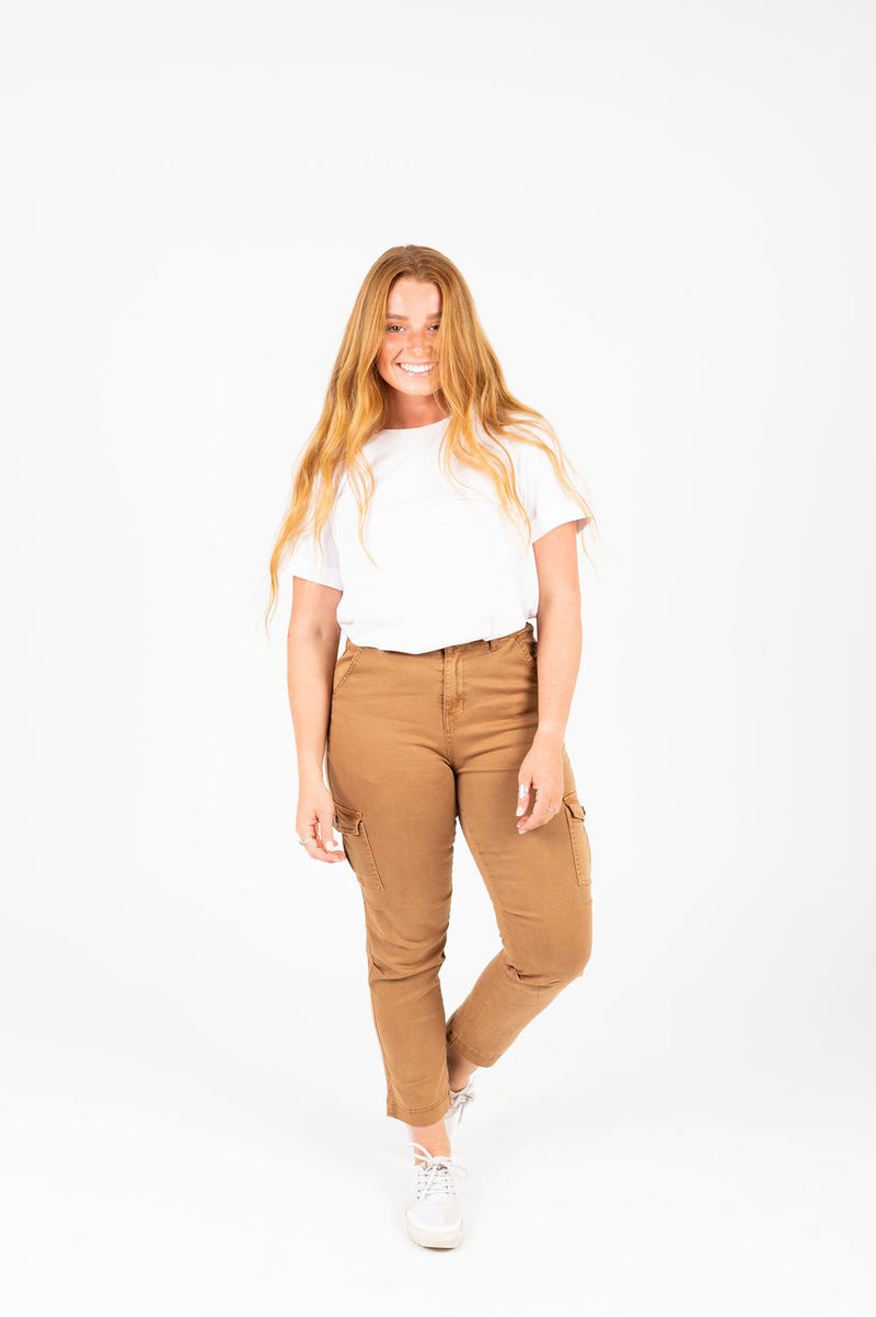 The Edward Skinny Cargo Pants in Camel, studio shoot; front view
