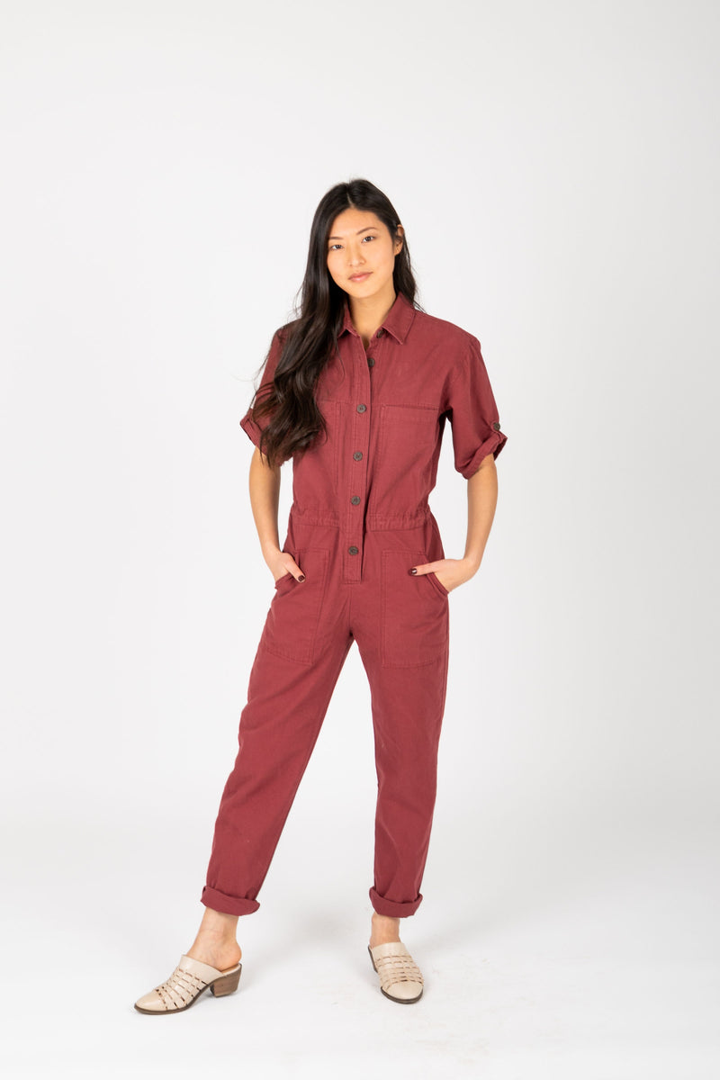 The Winnett Boiler Jumpsuit in Faded Berry, studio shoot; front view