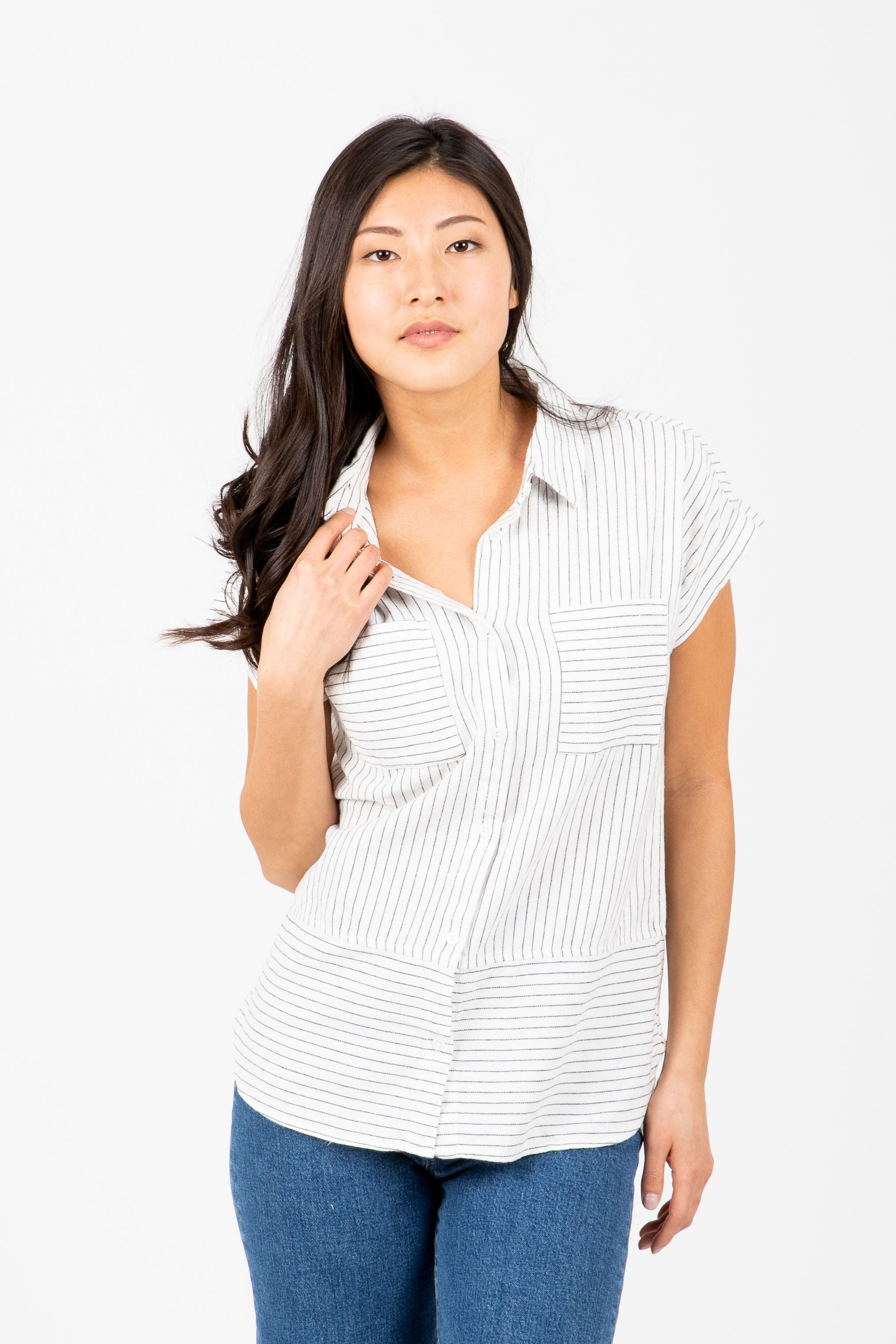 The Ethel Striped Button Up Shirt in Black