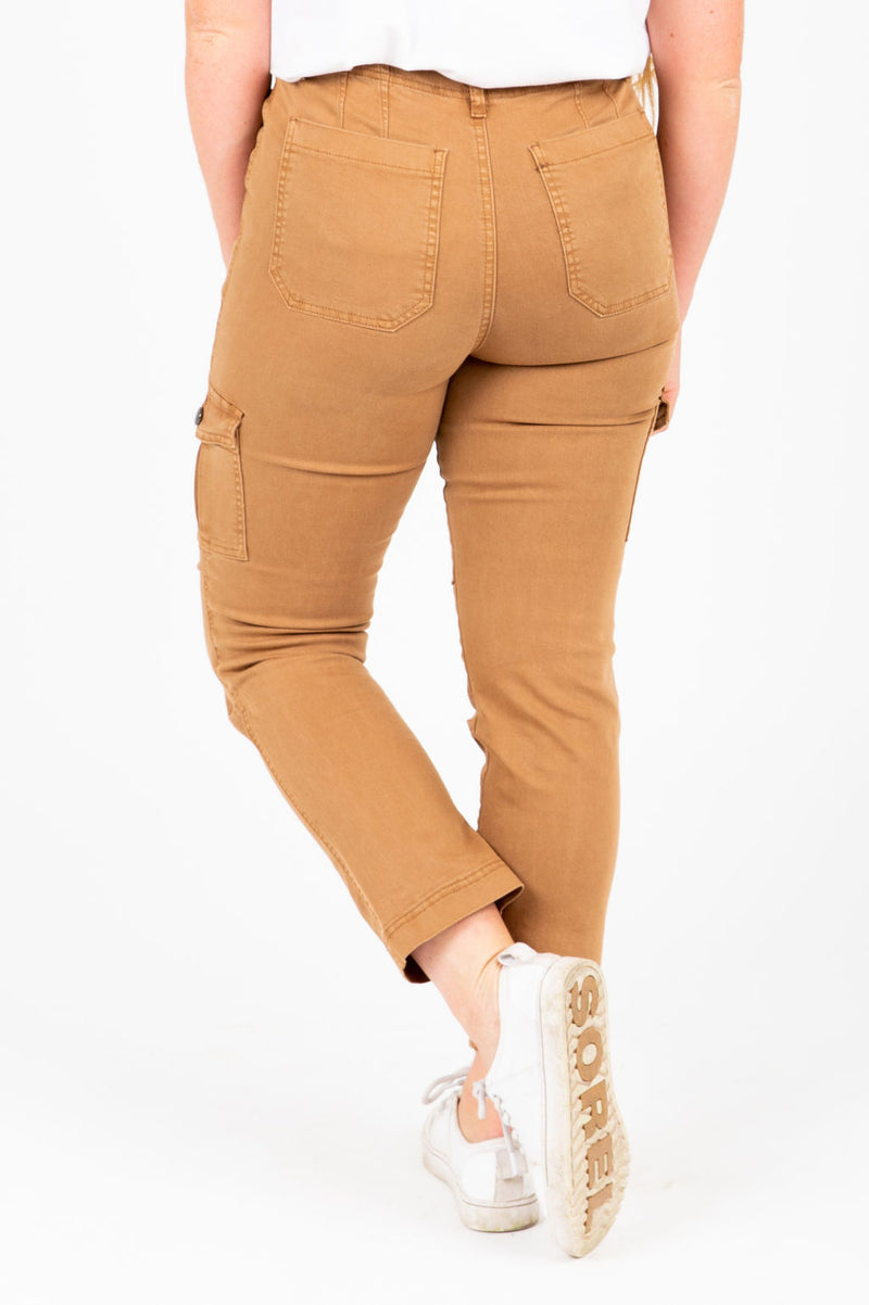 The Edward Skinny Cargo Pants in Camel, studio shoot; back view