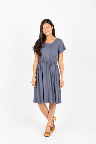 The Memento Casual Empire Dress in Navy