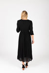 Piper & Scoot: The Cleo Beaded Detail Dress in Black, studio shoot; back view
