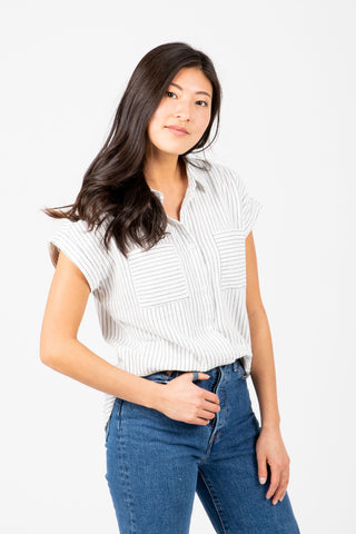 The Butler Striped Tie Front Blouse in White