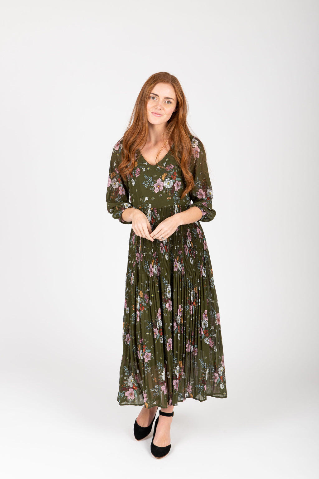 The Edward Floral Pleated Dress in Hunter Green, studio shoot; front view