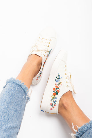 Keds: Rifle Paper Co. Triple Decker Wildwood Sneaker in Black Multi