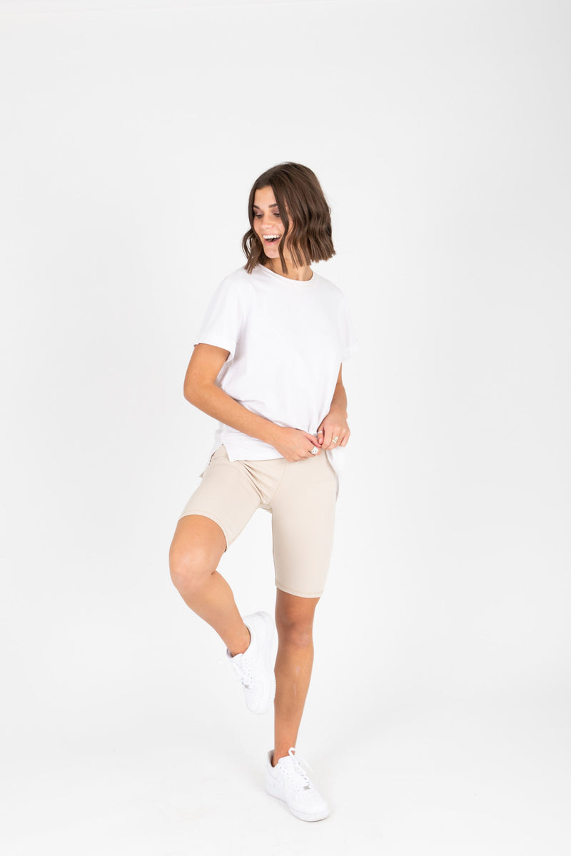 The Thick Knit Biker Short in Light Grey, studio shoot; front view