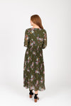 The Edward Floral Pleated Dress in Hunter Green, studio shoot; back view
