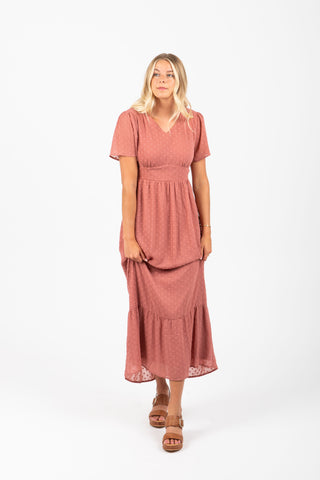 Piper & Scoot: The Firefly Floral Tiered Dress in Peach