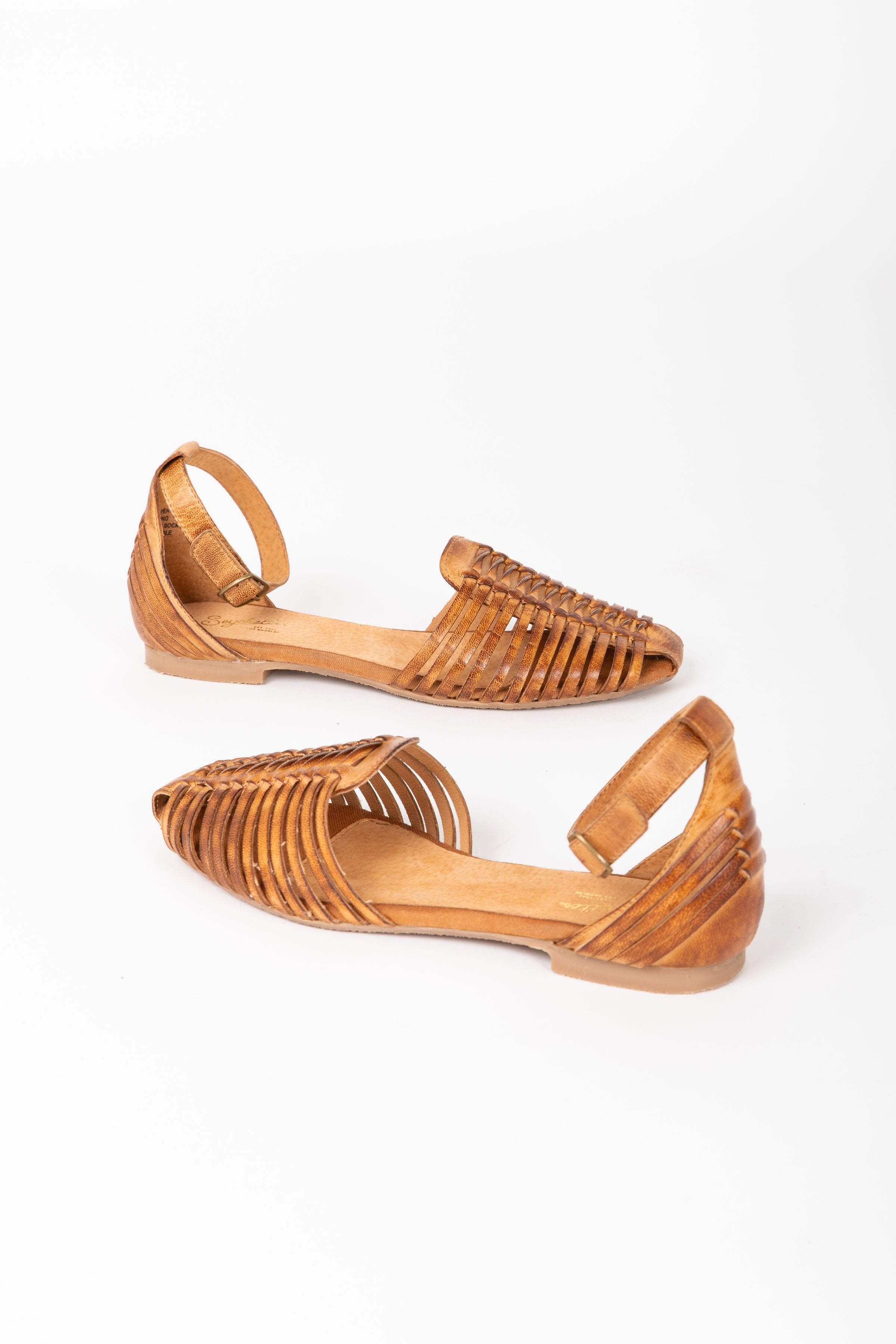 Seychelles: Bits N Pieces Leather Flat in Cognac