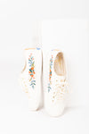Keds: Rifle Paper Co. Kickstart Embroidered Rosalie Sneaker in Cream
