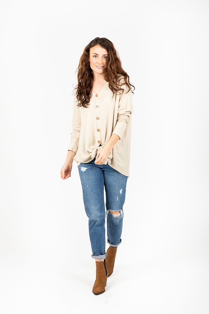 The Denny Tie Front Waffle Blouse in Natural