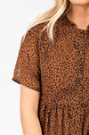 Piper & Scoot: The Lana Leopard Button Dress, studio shoot; closer up front view