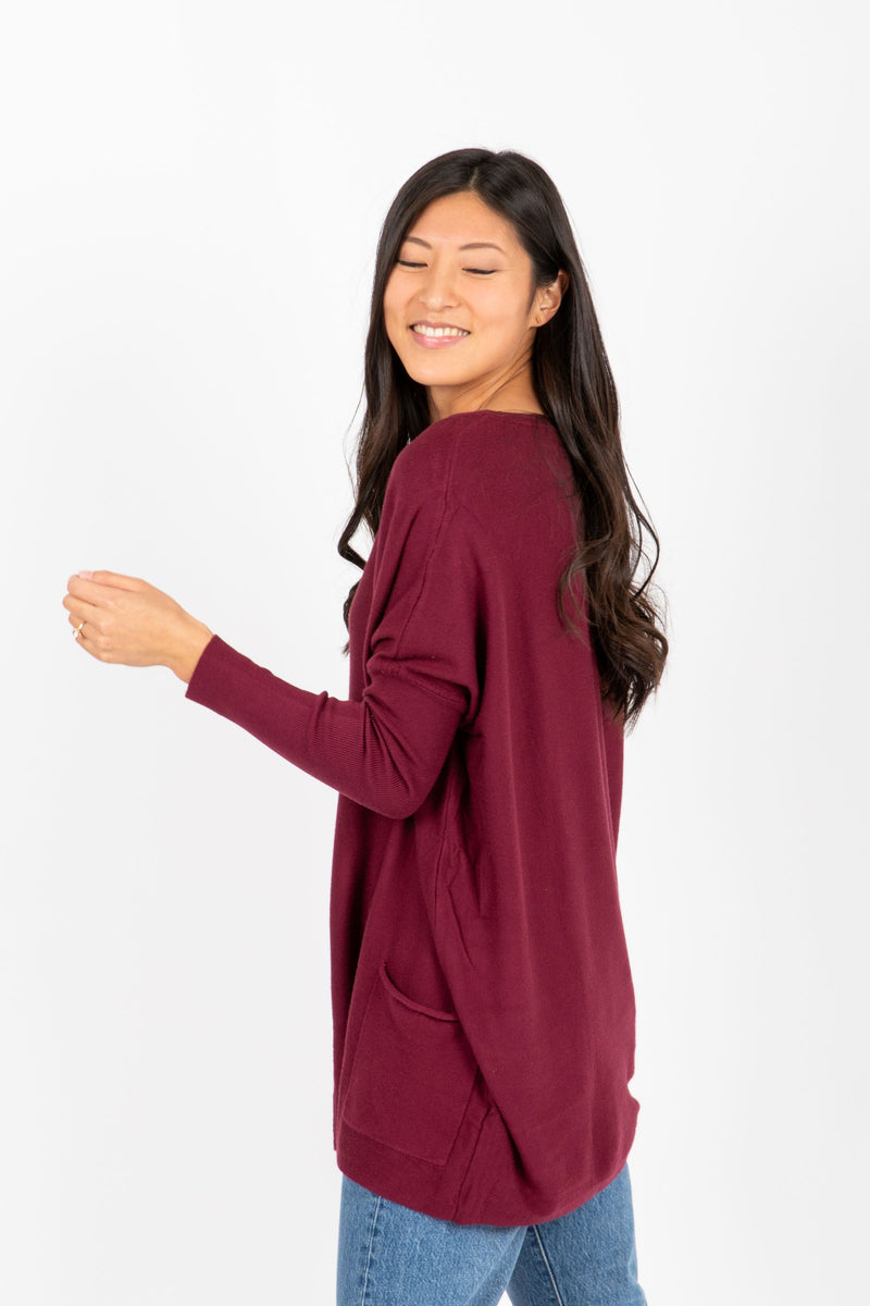 The Divina Casual Pocket Sweater in Plum