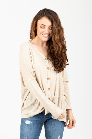 The Crisp Check Button Cardigan in Butterscotch