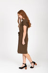 Piper & Scoot: The Casa Cinch Casual Dress in Hunter Green, studio shoot; side view