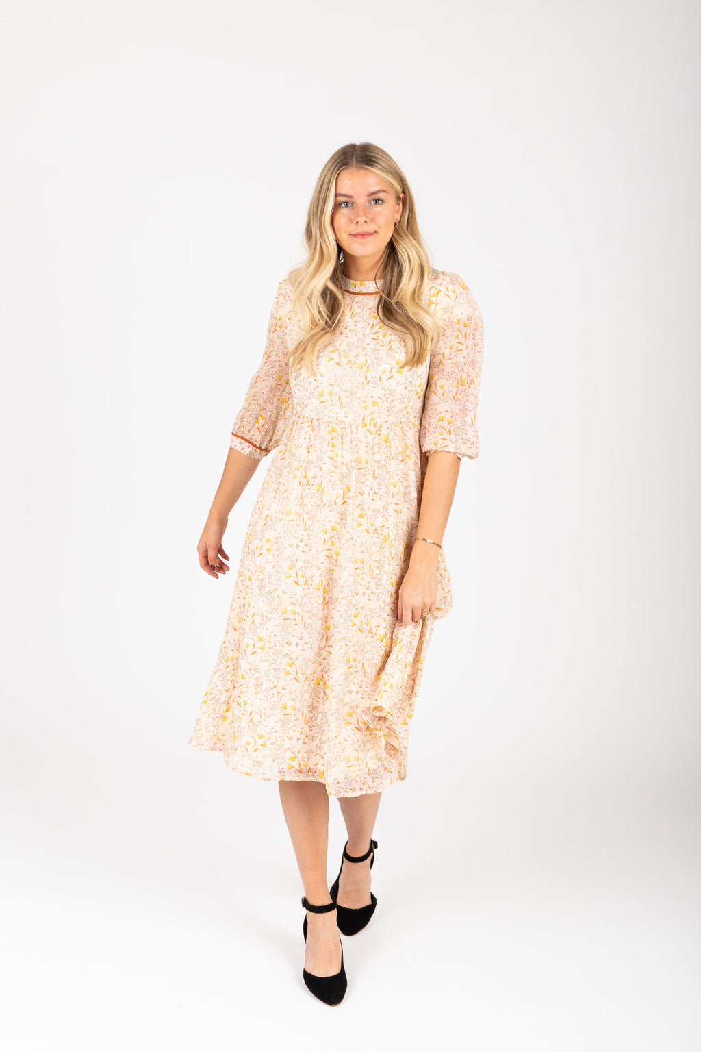 Piper & Scoot: The Chandler Patterned Detail Dress in Natural, studio shoot; front view