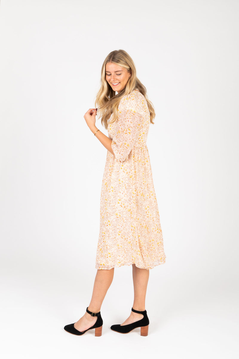 Piper & Scoot: The Chandler Patterned Detail Dress in Natural, studio shoot; side view
