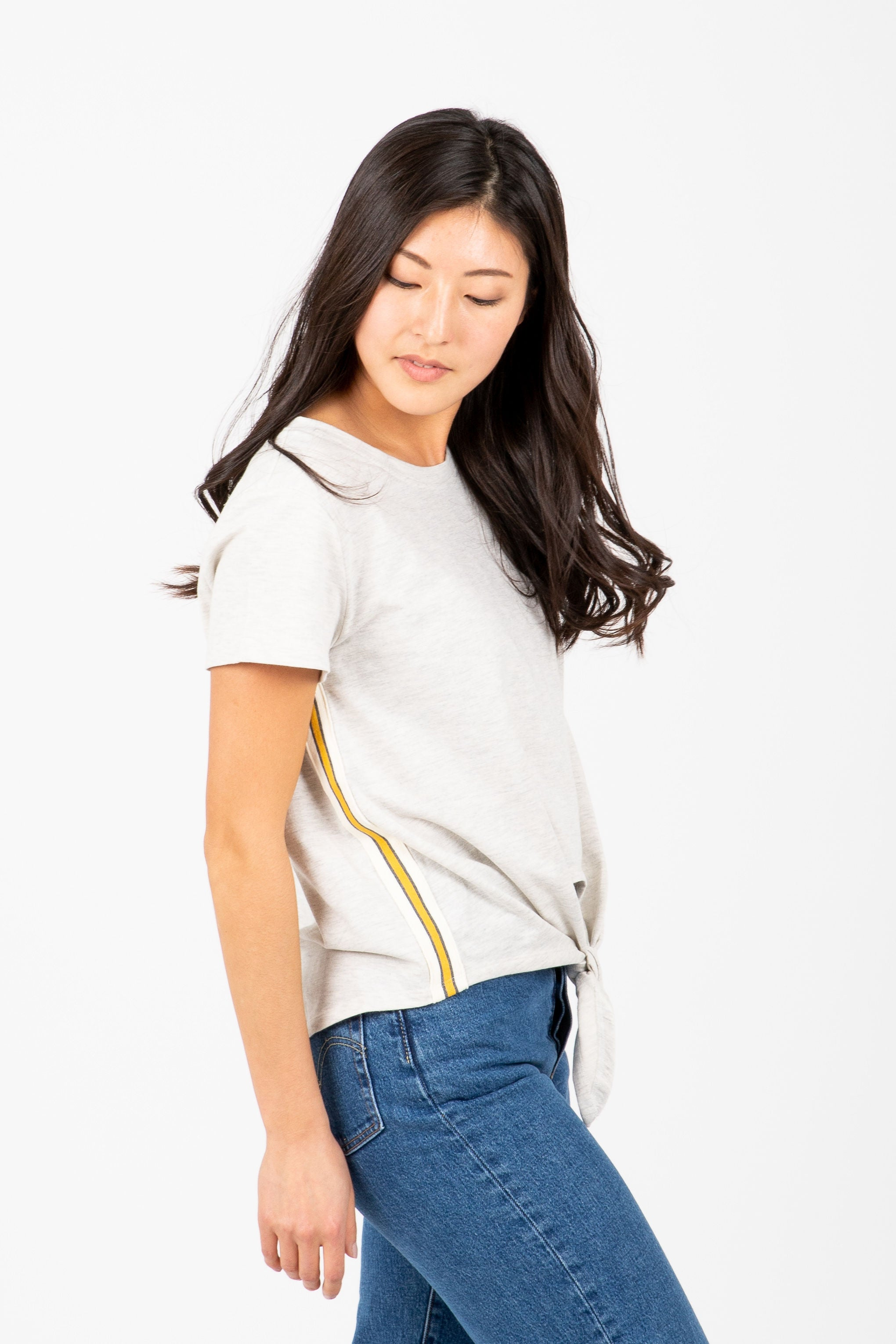 The Sinclair Knot Game Stripe Tee in Heather Grey