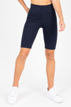 The Thick Knit Biker Short in Navy, studio shoot; front view