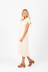 Piper & Scoot: The Wistful Button Ruffle Dress in Natural