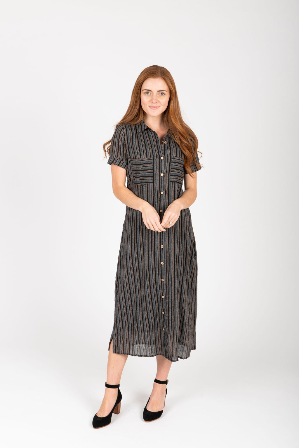 Piper & Scoot: The Wimm Striped Button Dress in Black, studio shoot; front view