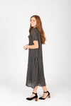 Piper & Scoot: The Wimm Striped Button Dress in Black, studio shoot; side view