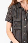 Piper & Scoot: The Wimm Striped Button Dress in Black, studio shoot; closer up front view