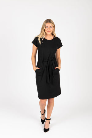 Piper & Scoot: The Casa Cinch Casual Dress in Black, studio shoot; front view