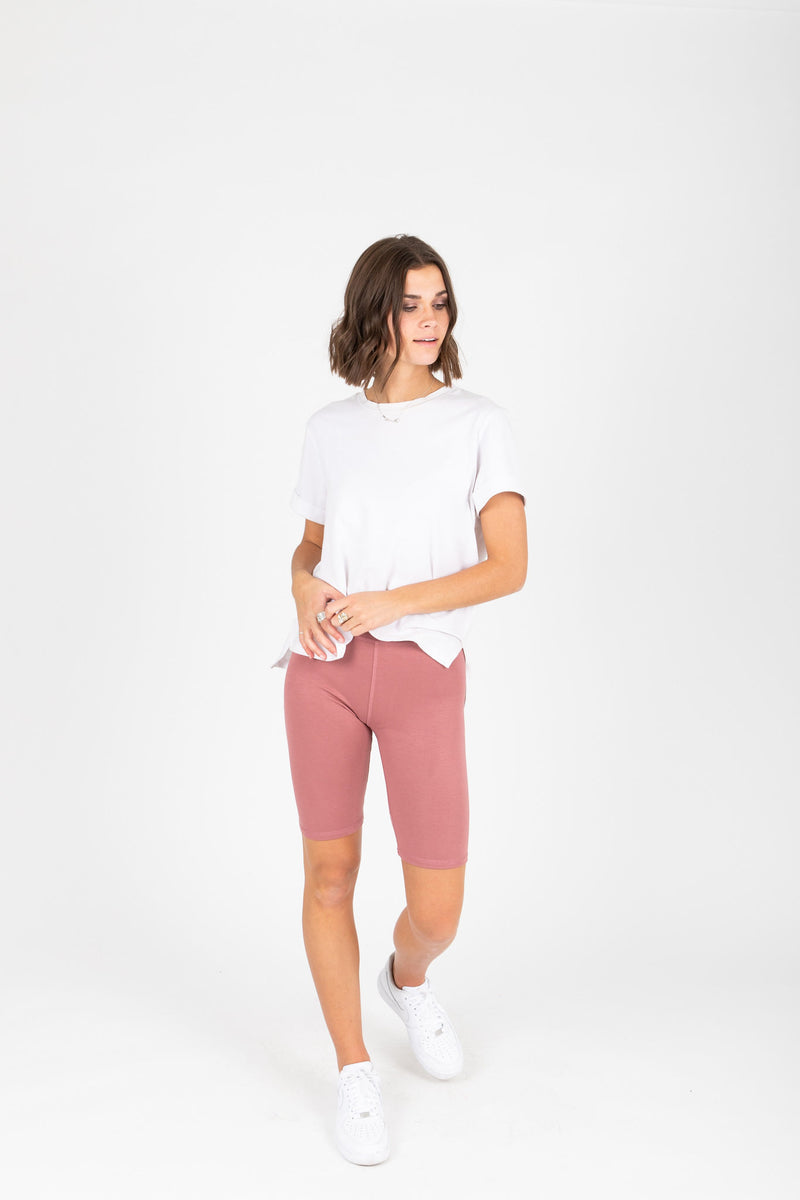 The Thick Knit Biker Short in Mauve, studio shoot; front view
