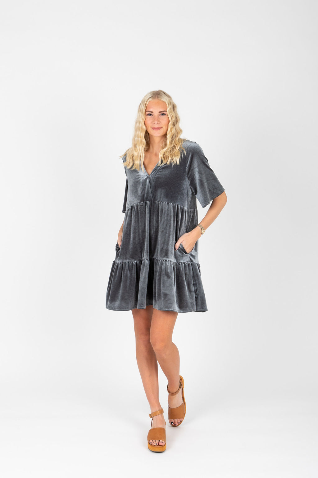 The Murphy Velvet Tiered Dress in Slate, studio shoot; front view