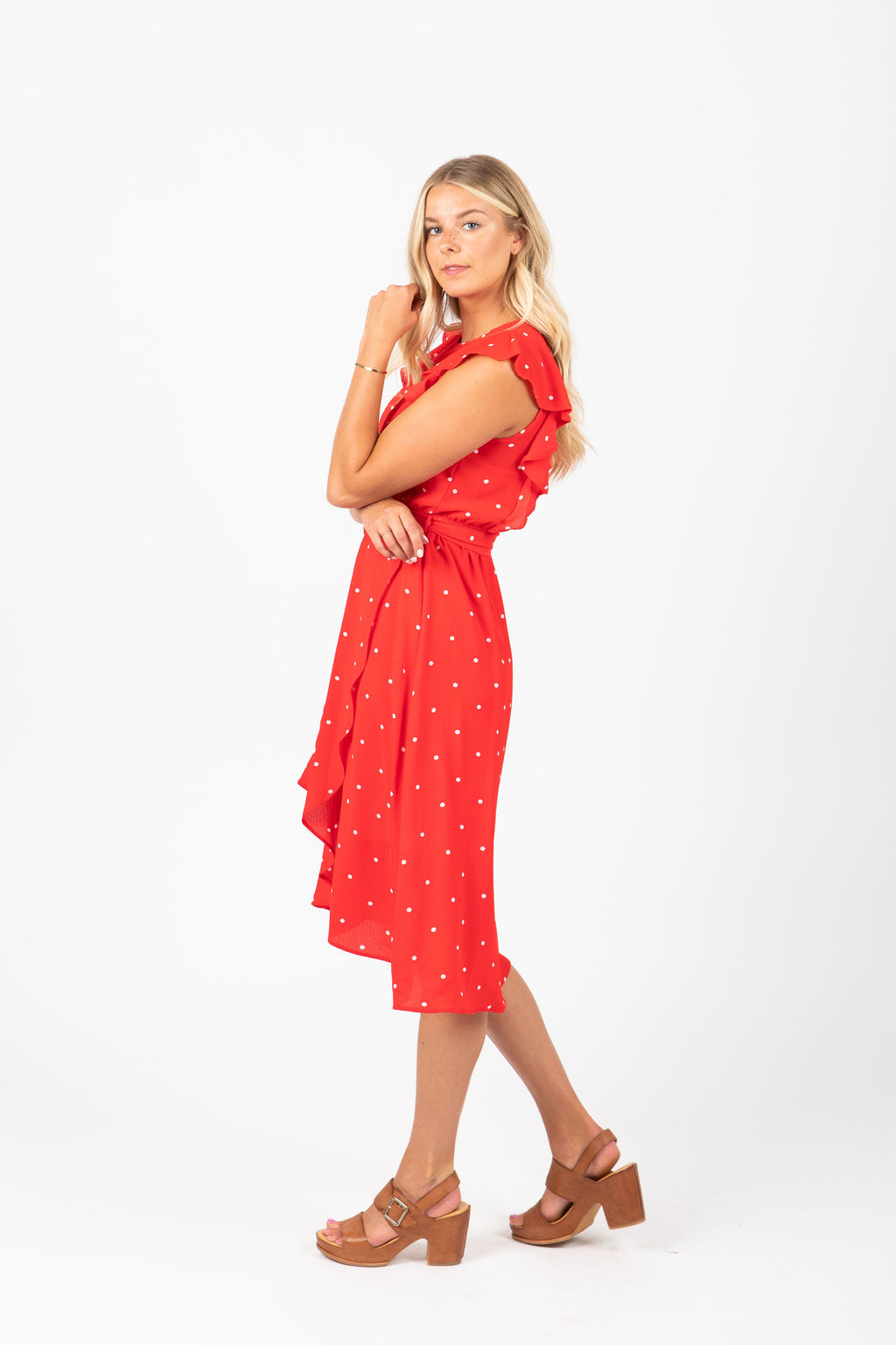 The Quill Ruffle Dot Dress in Red