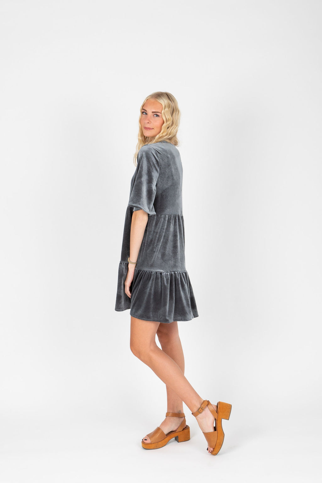 The Murphy Velvet Tiered Dress in Slate, studio shoot; side view