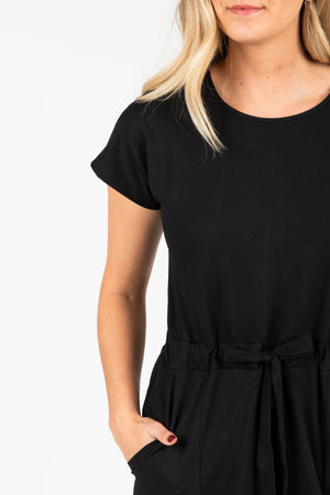 Piper & Scoot: The Casa Cinch Casual Dress in Black, studio shoot; closer up front view