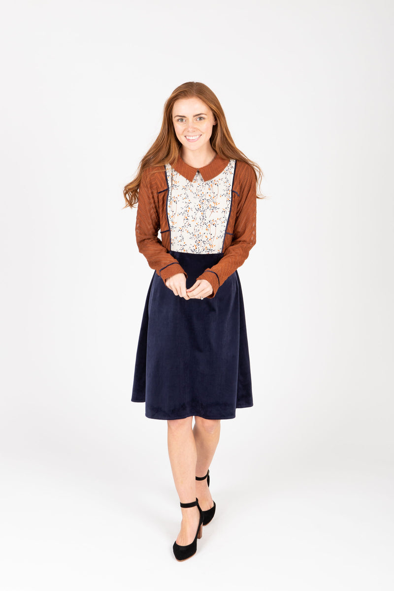Piper & Scoot: The Margaret Collared Silk Dress in Navy + Rust, studio shoot; front view