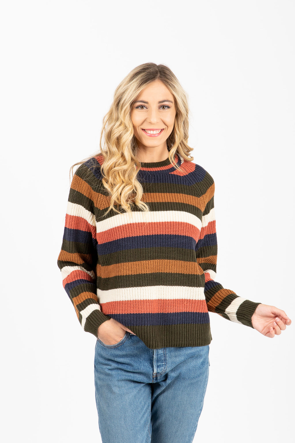 The Felix Striped Sweater in Multi, studio shoot; front view