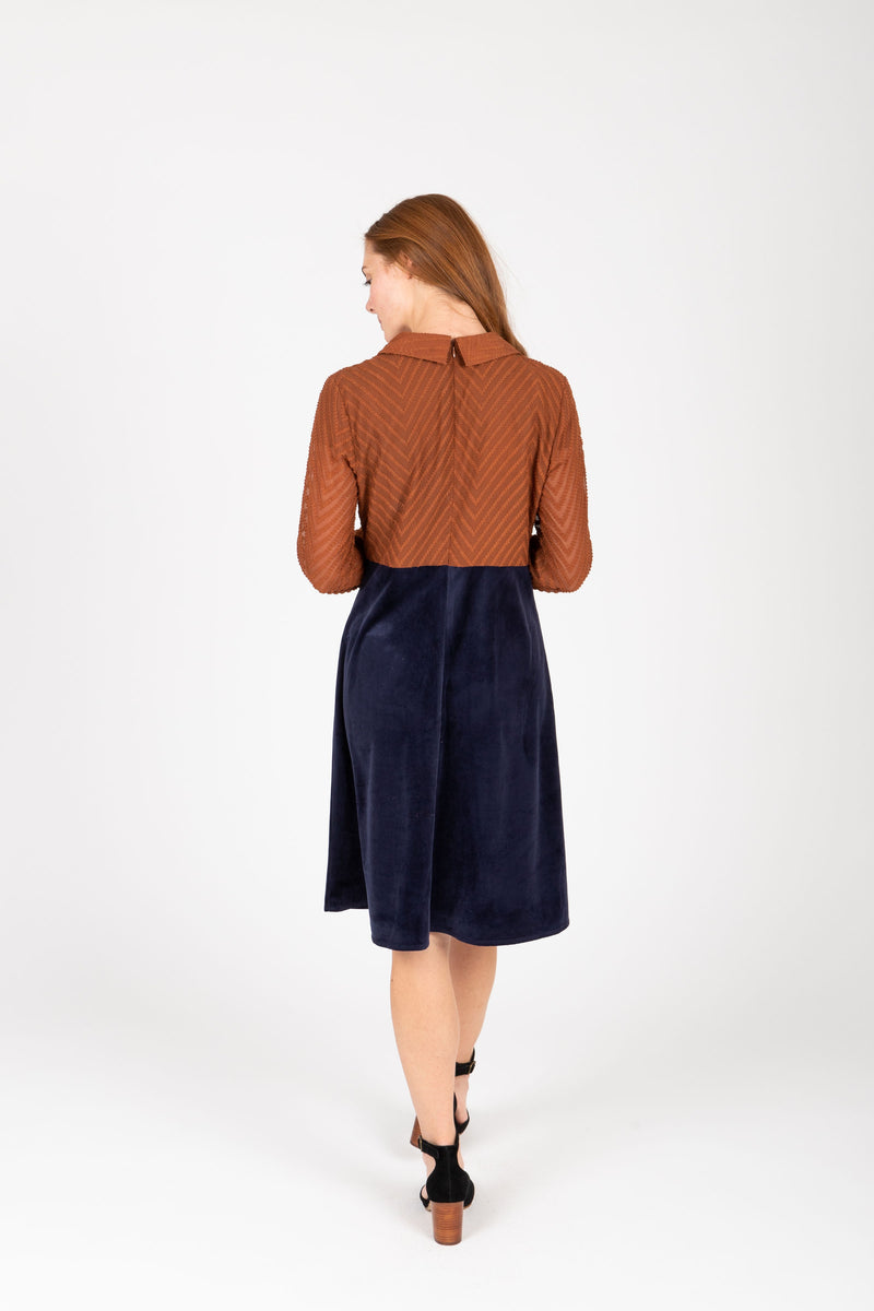 Piper & Scoot: The Margaret Collared Silk Dress in Navy + Rust, studio shoot; back view