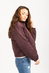 The Padded Corduroy Bomber Jacket in Plum