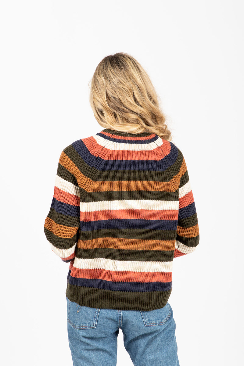 The Felix Striped Sweater in Multi, studio shoot; back view