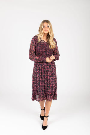 Piper & Scoot: The Emery Smocked Floral Dress in Navy + Rose, studio shoot; front view
