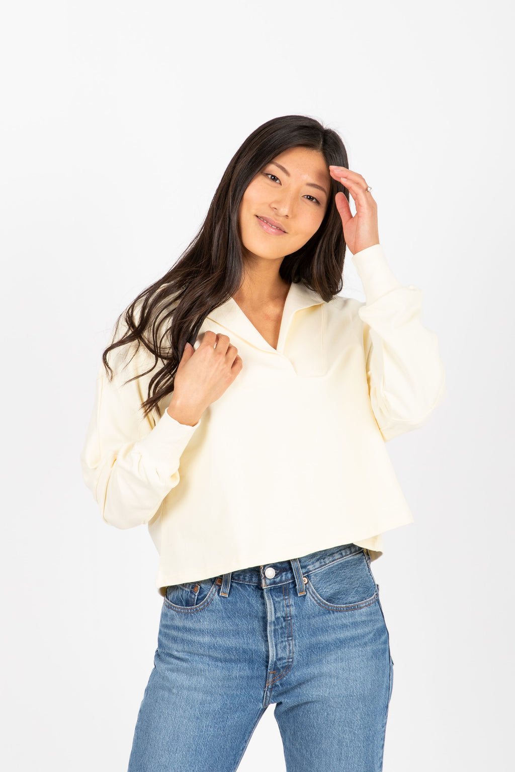 The Sadie Collared Sweater in Cream, studio shoot; front view
