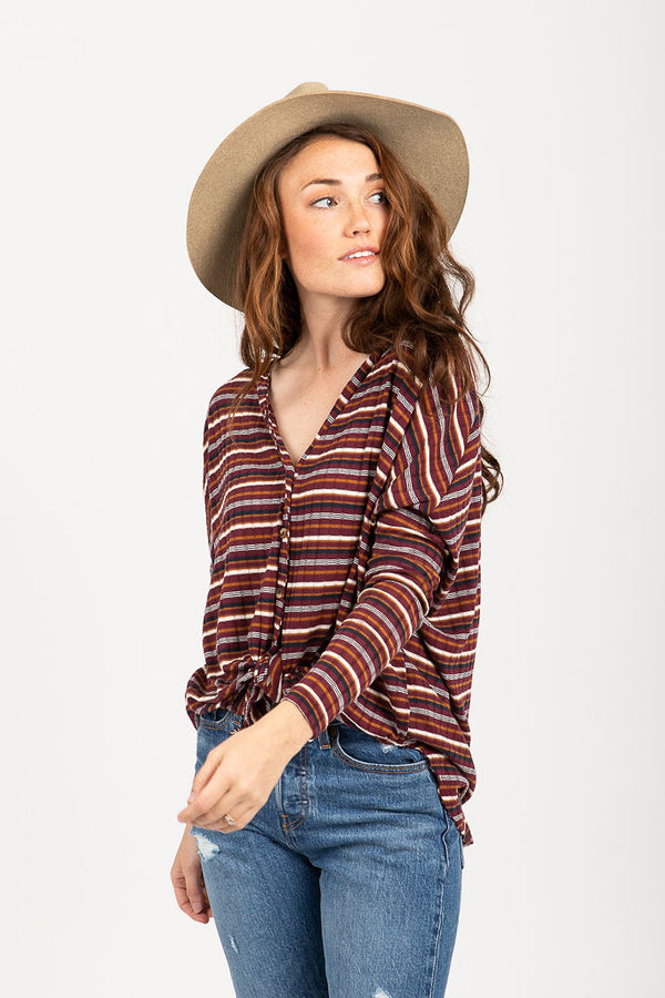 The Holden Tie Blouse in Burgundy Stripe