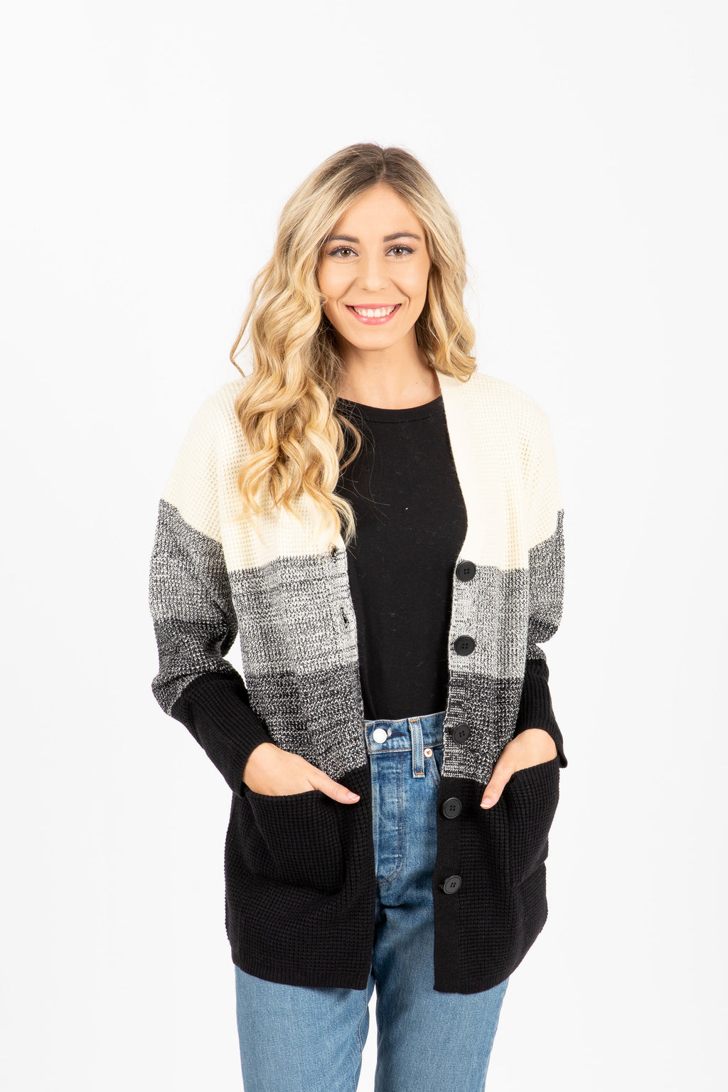 The Marston Block Cardigan in Black + Cream, studio shoot; front view