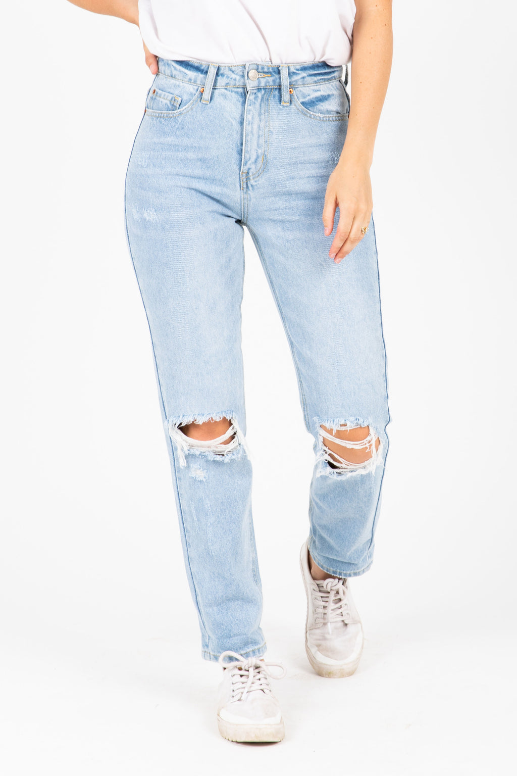 The Marcell Destructed Boyfriend Jeans in Light Denim, studio shoot; front view