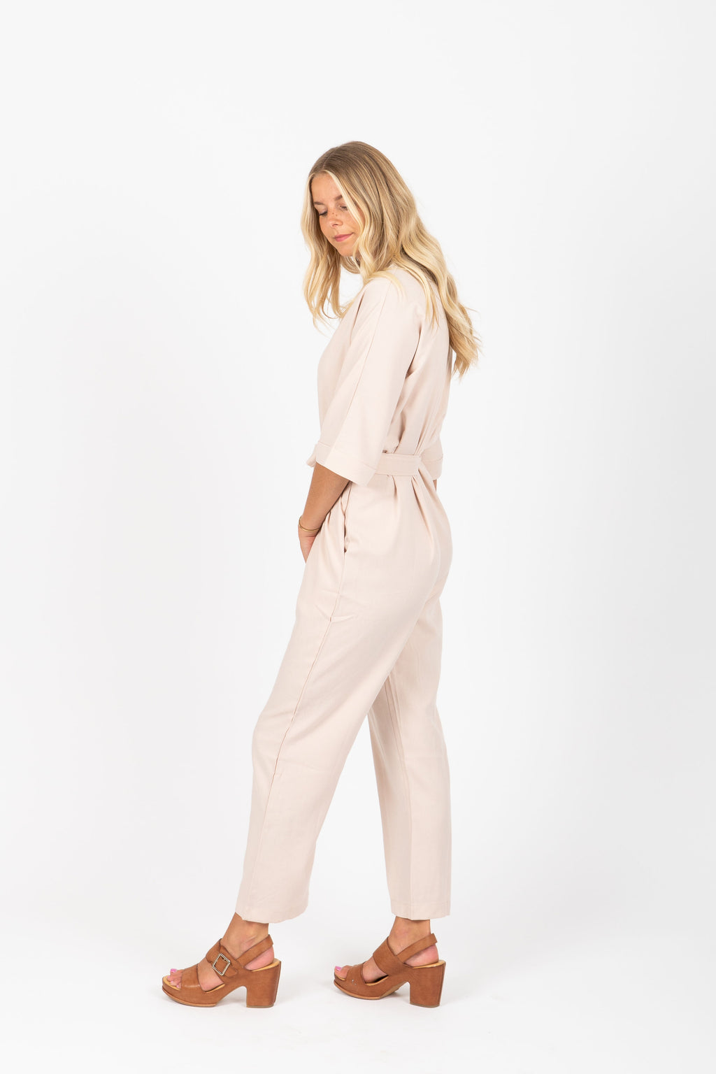 The Roto Collared Jumpsuit in Bone