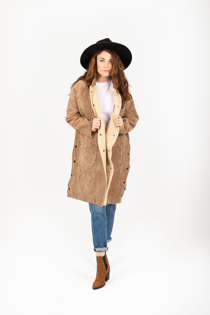 The Corduroy Sweatshirt Long Coat in Camel