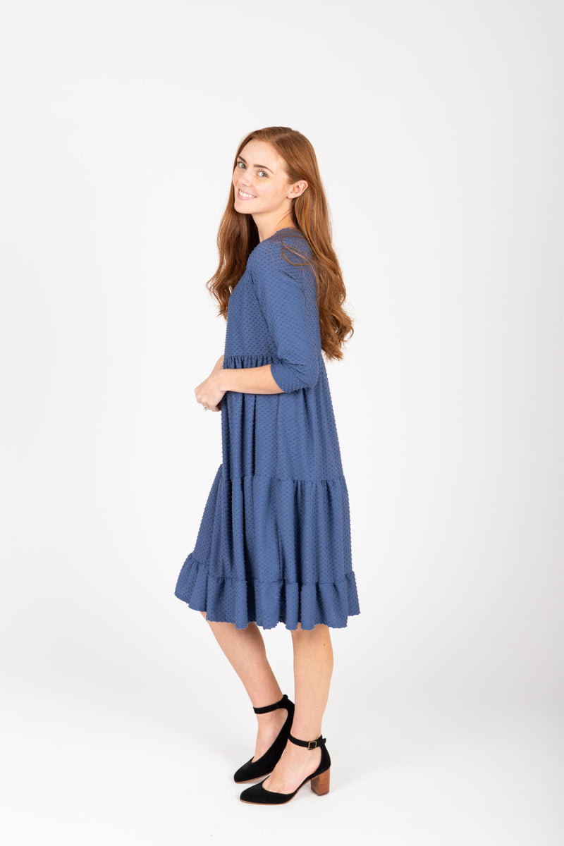 The Grantley Tiered Swiss Dot Dress in Blue