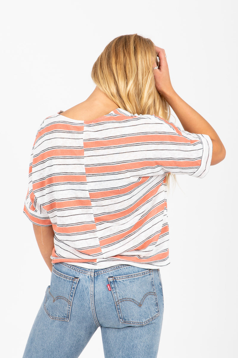 The Confetti Striped Blouse in Coral
