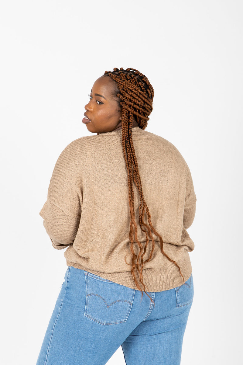 The Millan Pocket Casual Knit in Light Camel, studio shoot; back view