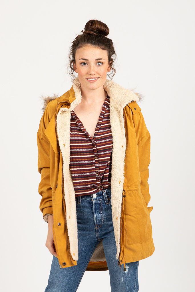 The Utility Sherpa Lined Parka in Mustard